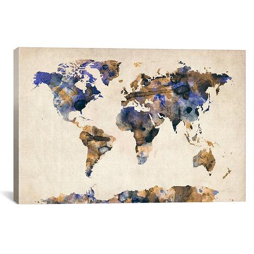 Urban Watercolor World Map V