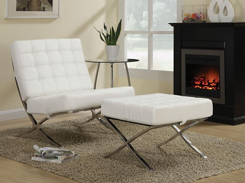 Contemporary Waffle Accent Chair in White/Chrome
