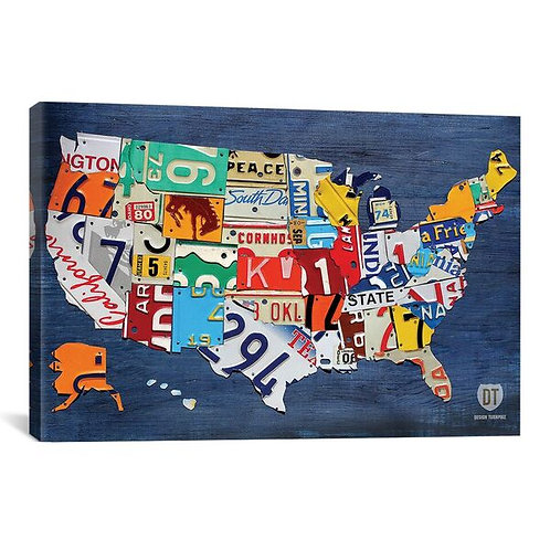 USA Recycled License Plate Map II by Design Turnpike Canvas Print