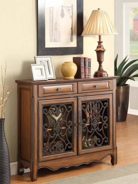 Brown Metal Accent Table