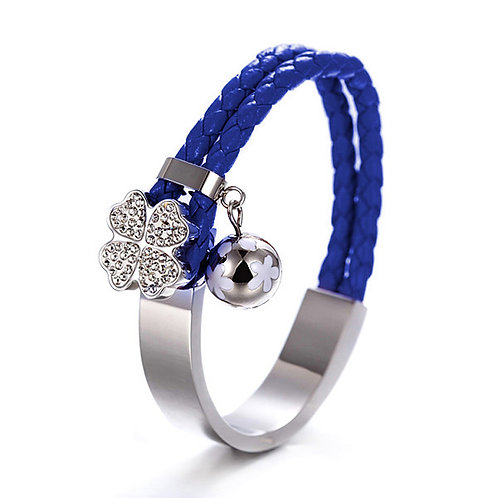 Studded Daisy Bangle w/Leather Braid - Blue/Steel