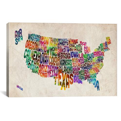Typographic Text USA (States) Map