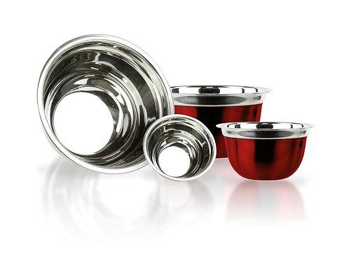 Red German Stainless Steel Mixing Bowl Set