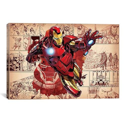 Comics (Avengers) - Iron Man On Comic Panels  by Marvel Comics Canvas Print