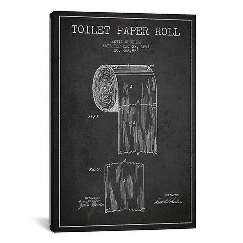 Toilet Paper Charcoal Patent Blueprint by Aged Pixel Canvas Print
