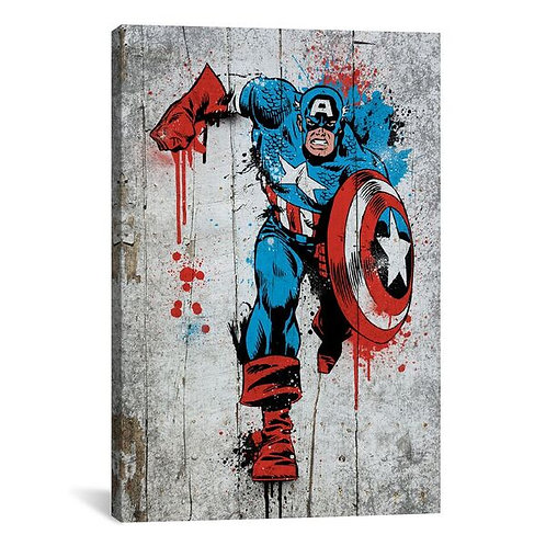 Marvel Comic Book: Captain America Spray Paint by Marvel Comics Canvas Print