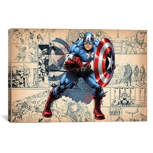 Comics (Avengers) - Captain America On Comic Panels