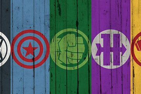Comics (Avengers) - Avengers Symbols On Wood Plank  by Marvel Comics Canvas Prin