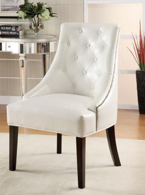 Upholstered Accent Chair with Tufted Button in White Faux Leather