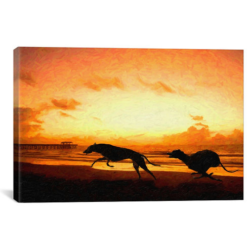 Greyhounds on Beach at Sunset