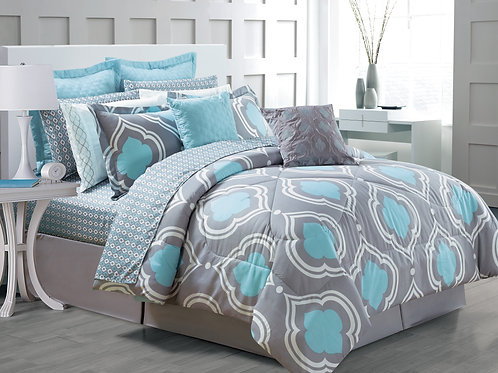 Amy 14-piece Comforter Set, Mineral