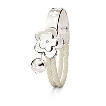 Stainless Daisy Bangle w/Leather Braid - White