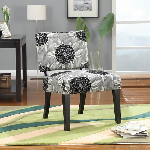 Patterned Fabric Upholstery Accent Chair, Big Flowers
