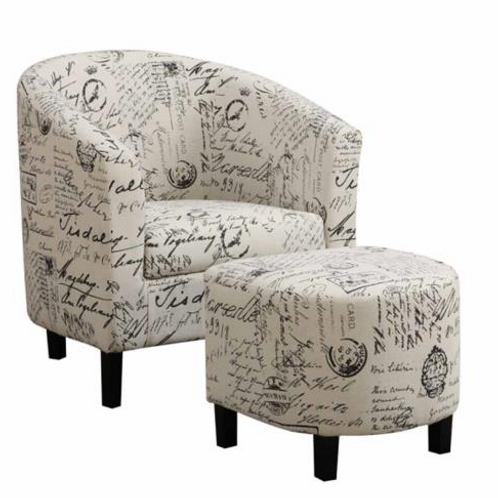 Accent Chair and Ottoman in Vintage French Print Fabric