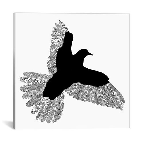 Bird on White by Florent Bodart Canvas Print