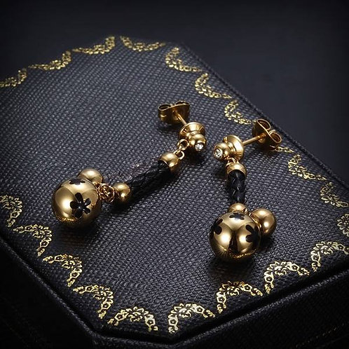 Braided Leather Ear Rings - Black/Gold