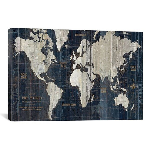 Old World Map Blue by Wild Apple Portfolio Canvas Print
