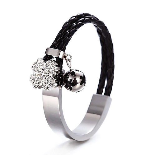 Studded Daisy Bangle w/Leather Braid - Blk/Steel