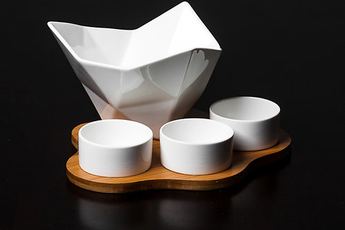 Porcelain Condiment Bowls Set w/ Serving Tray