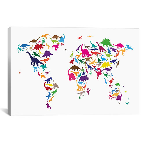 Dinosaur Map of The World Map II