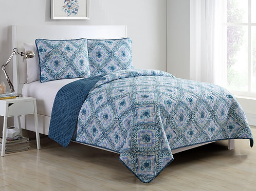 PLYMOUTH 3PC QUILT SET-BLUE
