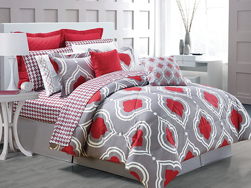 Amy 14-piece Comforter Set, Red