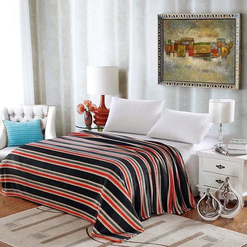 Lauren Black Stripes Blanket