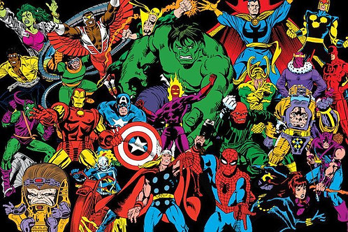 Marvel Comics (Retro) - Character Line-Up in Zoom by Marvel Comics Canvas Print