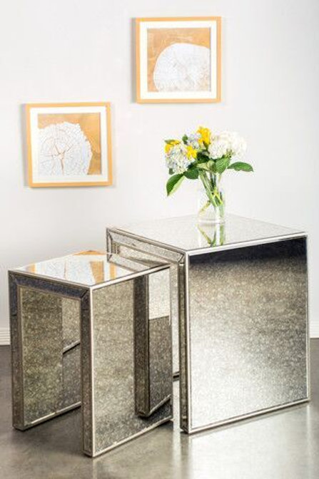 NESTING ANTIQUE MIRRORED TABLES