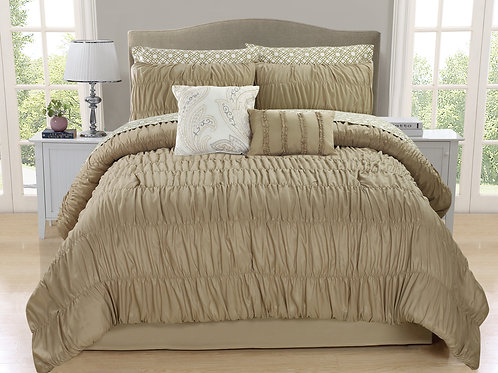 Greyson 10-piece Ruched Comforter Set, Taupe