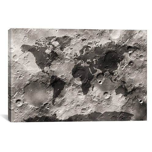 World Map on The Moon's Surface