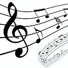 treble clef and music notes illustration