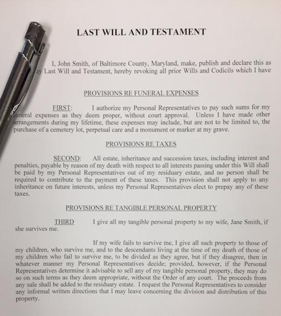 Estate planning paperwork: last will & testament