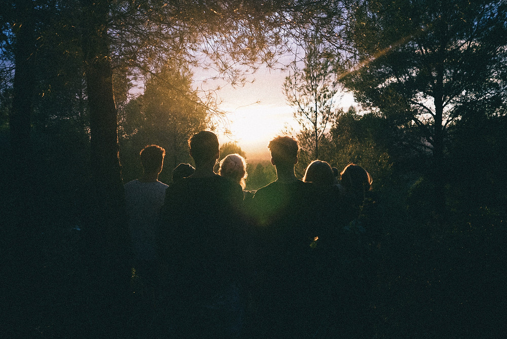 A group of people in the forest facing the sun