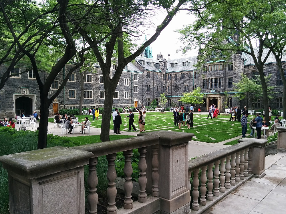 students on a campus green