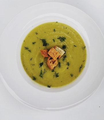 Supă cremă de broccoli cu dovlecel + crutoane