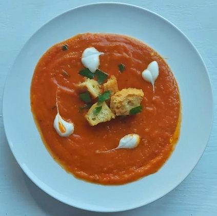 Supă cremă de roșii + crutoane