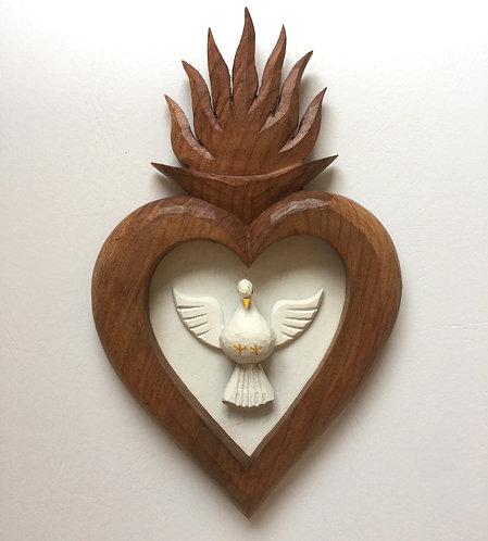 Quadro Sagrado Coração de Madeira 10x08cm
