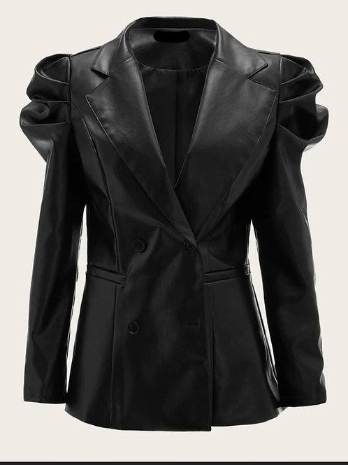 Pu Leather puff sleeve blazer