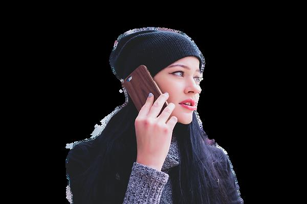 chica hablando por telefono sin fondo.pn