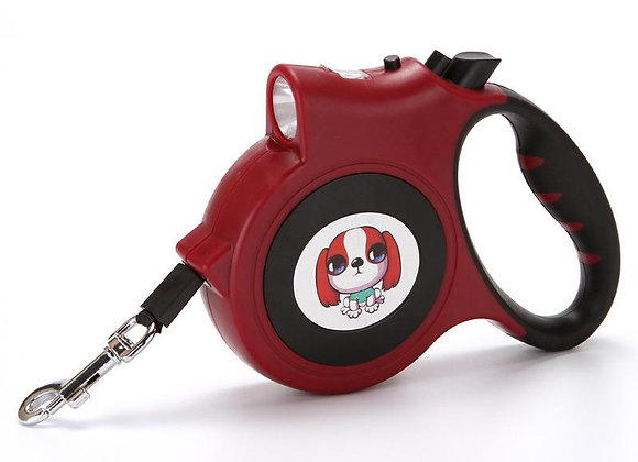 LED Lighted Retractable Nylon Dog Leash - Red