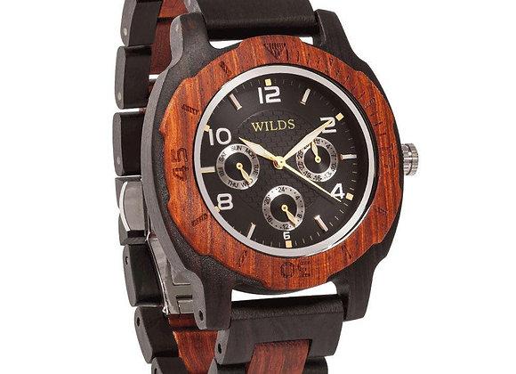 Men's Multi-Function Custom Rose Ebony Wooden Watch - Personalize Your Watch
