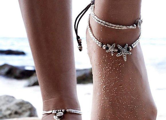 Vintage Double Beaded Starfish Anklet Ankle Bracelet