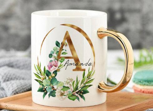Custom Personalized Monogram Initial Ceramic Coffee Mug