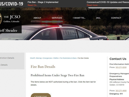 TEMPORARY STAGE 2 FIRE BAN IMPLEMENTED IN JEFFERSON COUNTY
