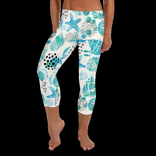 """""""Watercolor Shells"""" Capri Leggings"""