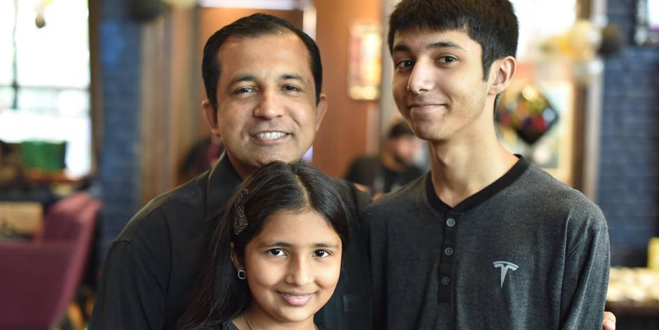 Sumit with Children Shoumik and Aishani