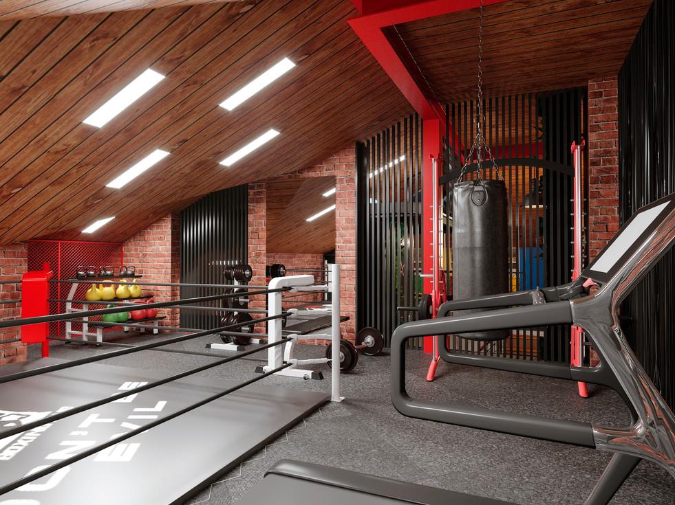 Design project of a ski resort in Italy. Children's game room, gym, billiard room