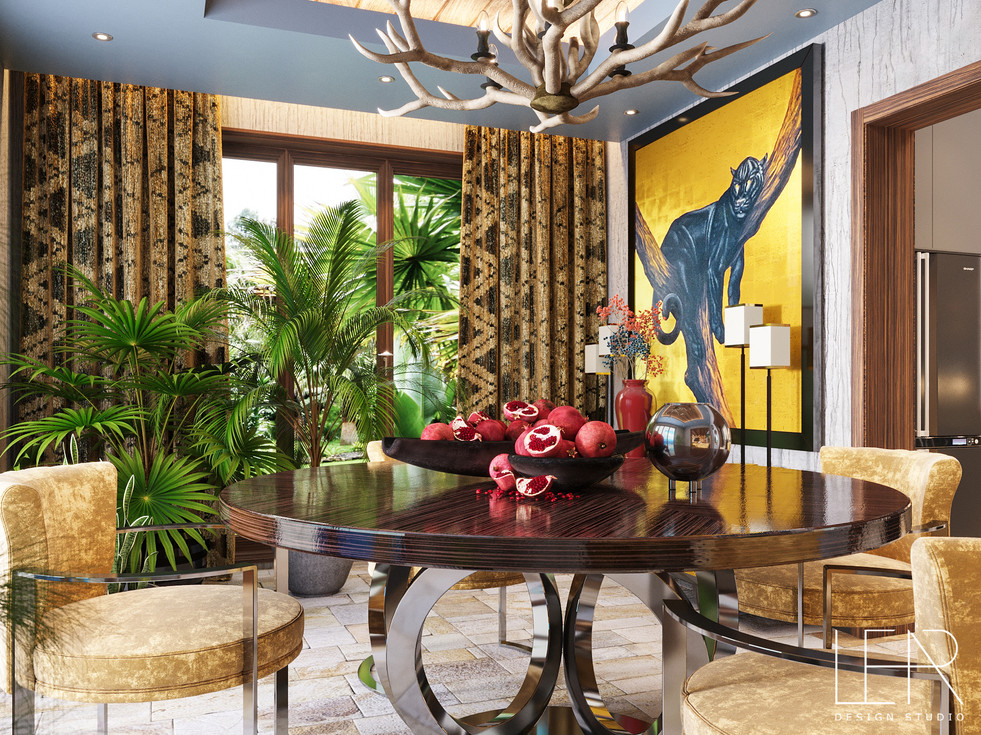 Luxurious villa with African decor, the project was completed on the island of Mauritius