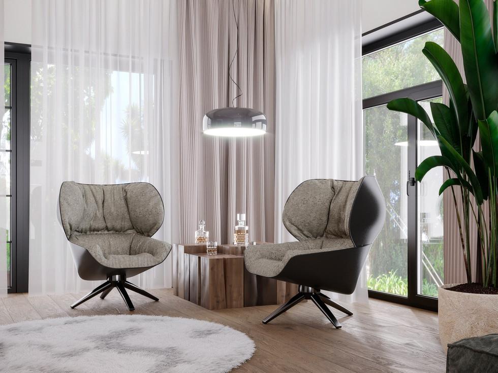Interesting comfortable villa on the island of Mauritius, stylish bright interior